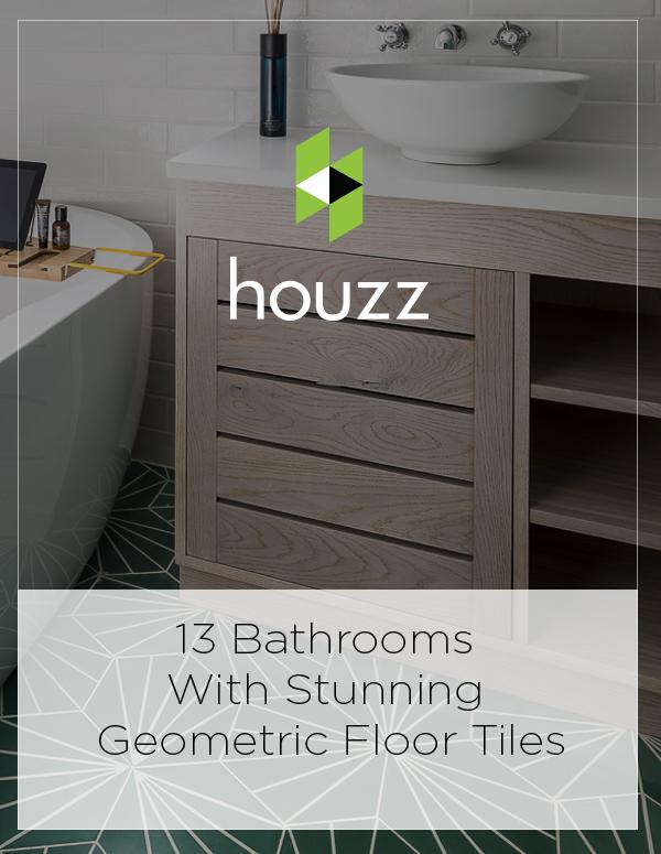 Houzz Feature: 13 Bathrooms With Stunning Geometric Floor Tiles